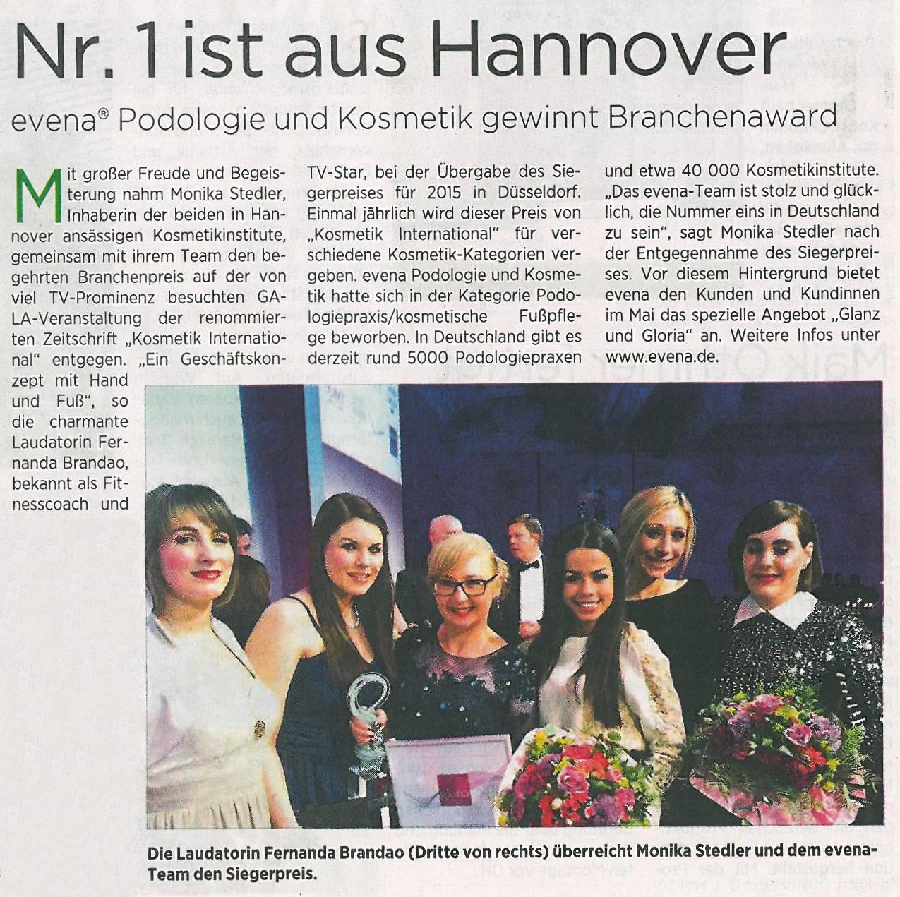 HAZ (Hannoversche Allgemeine Zeitung) 07.05.2015, Seite 8